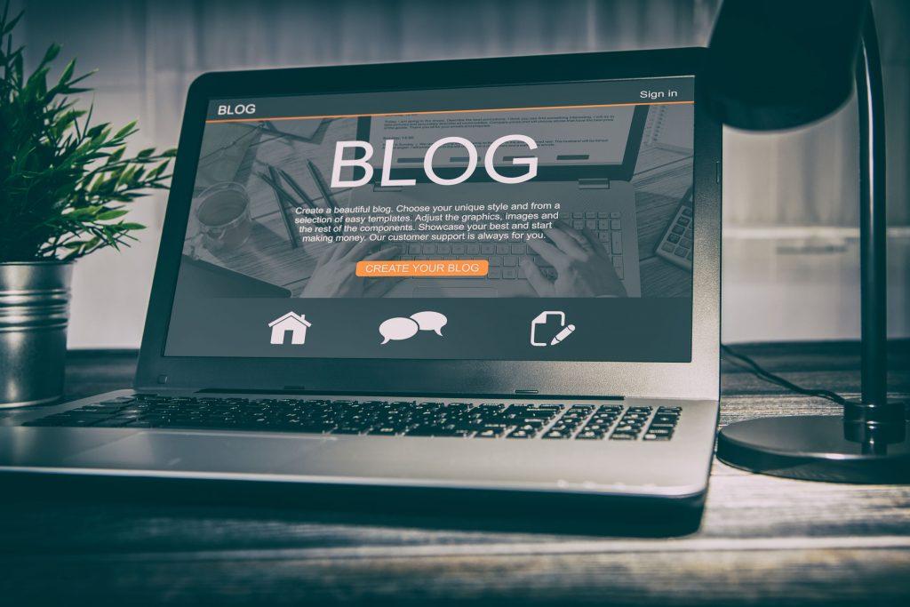 Blog Platform on Laptop Screen