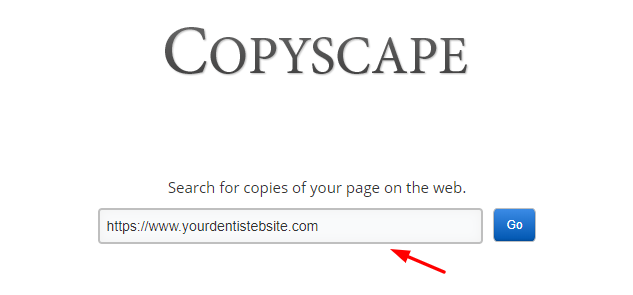 Copyscape Dentist URL Check Screenshot