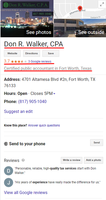 CPA Google My Business Listing