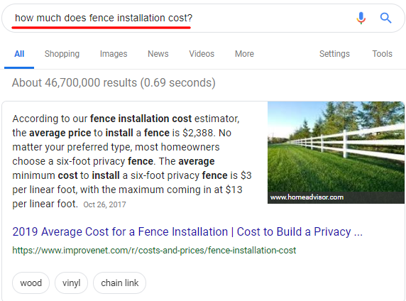 Fence Installation Price Featured Snippet
