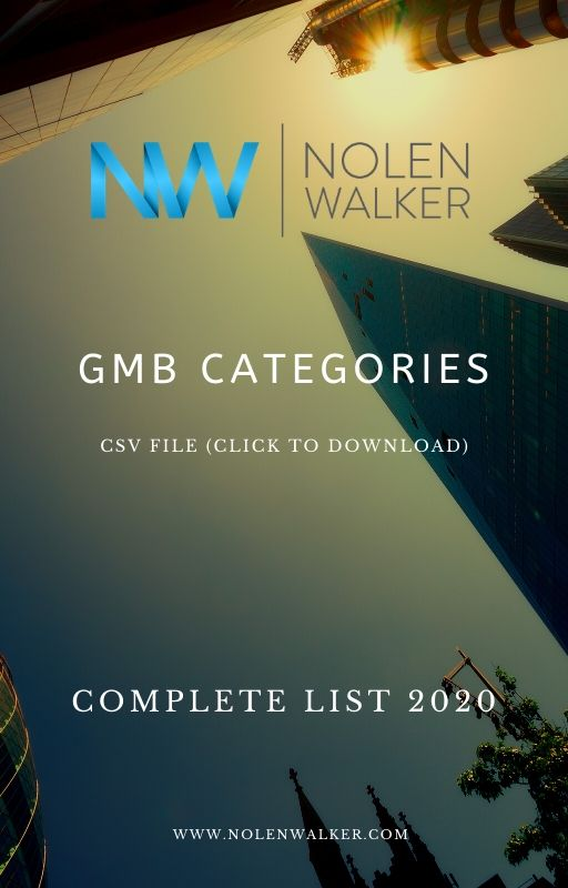 GMB Categories CSV File Cover