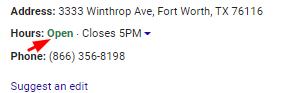 GMB Listing Hours