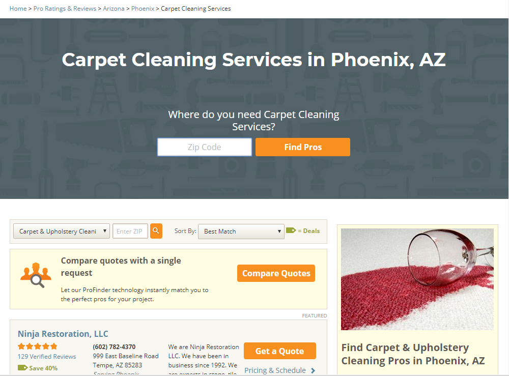 HomeAdvisor Carpet Cleaning Directory