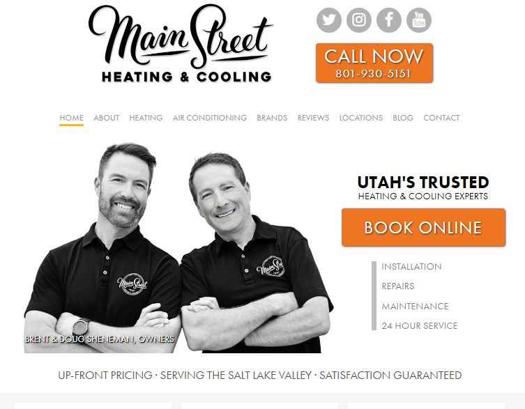 Example of Great Web Design for HVAC Company SEO