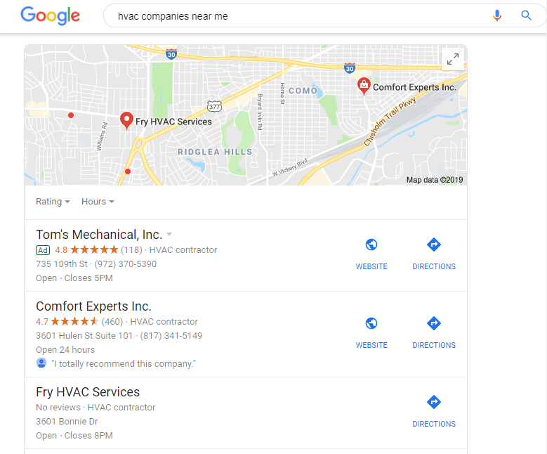 Search Ranking Improved by HVAC Google My Business