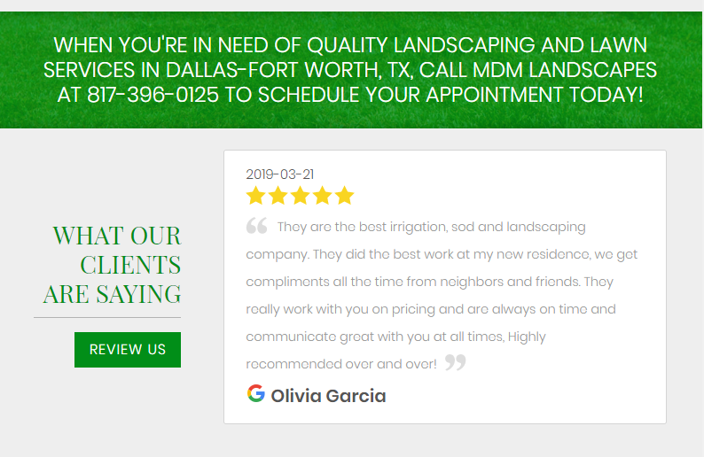 Google Reviews on a Website to Promote Landscaping SEO