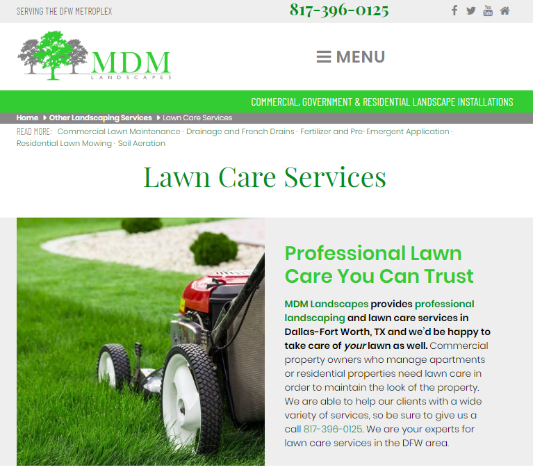 Example of Clean Website Design That Promotes Lawn Care SEO