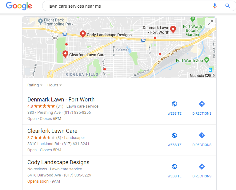 Google My Business Profile Results