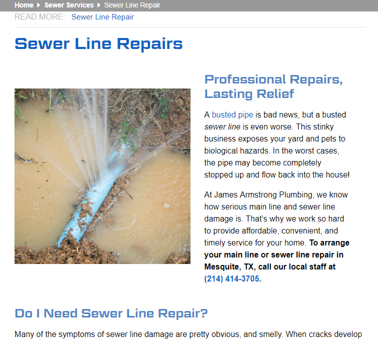 Improving Plumbing Company SEO With Quality Content