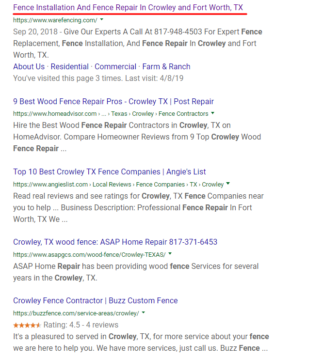 Organic Search Result Fence Repair