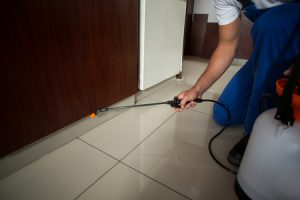 Pest Control Facebook Image Showing Chemical Spray Under Bedroom Door