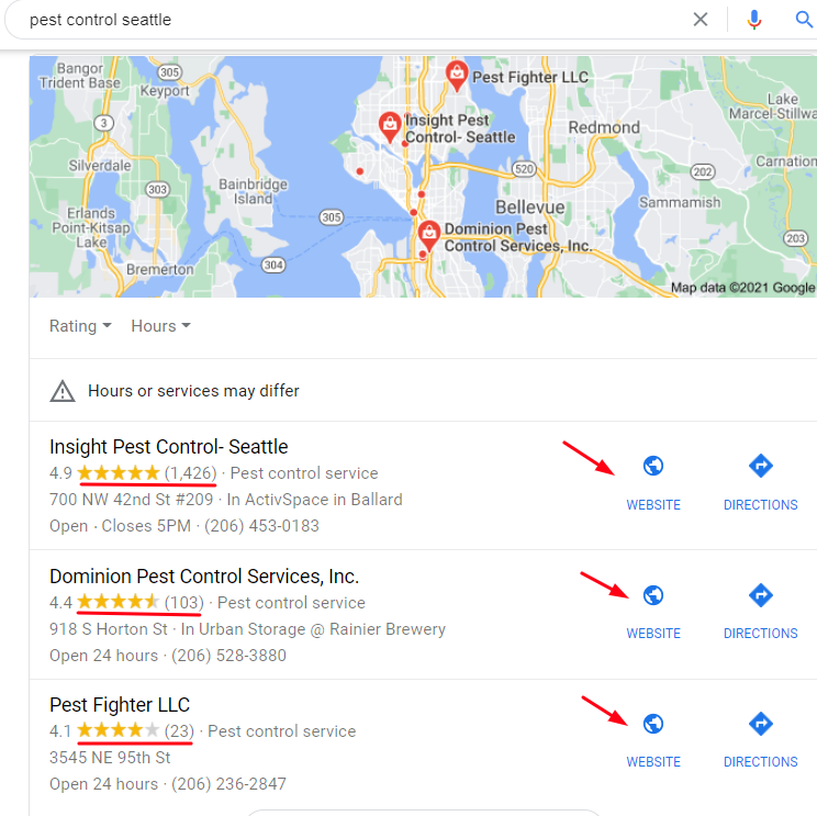 Pest Control Local SEO (Screenshot)