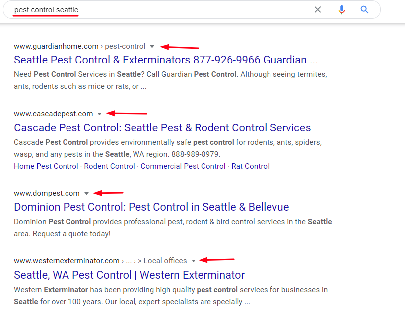 Pest Control SERP (Screenshot)