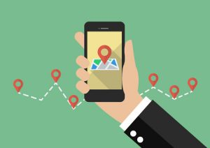 Drawing of Mobile GPS Referring To Roofer Local SEO