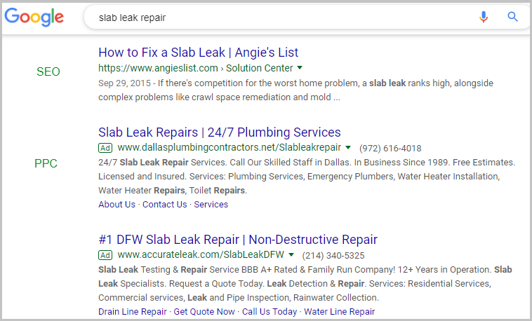Examples of Organic and Paid Search Marketing Results
