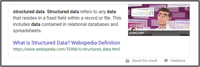 Structured Data Used for a Featured Snippet