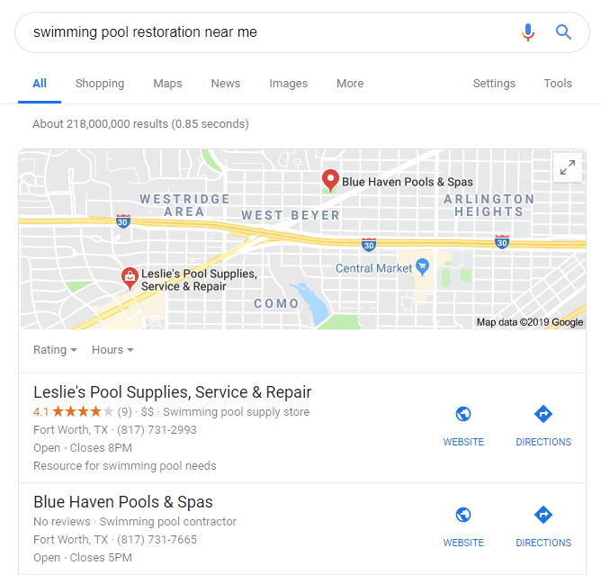 Example of How Reviews Improve Swimming Pool SEO
