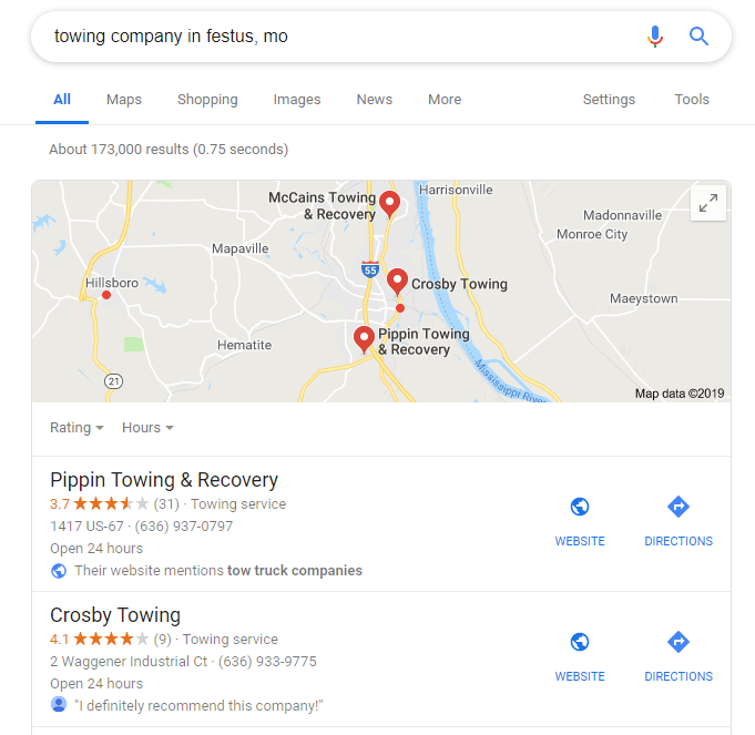 An Example of Google My Business Listings for Towing Company SEO