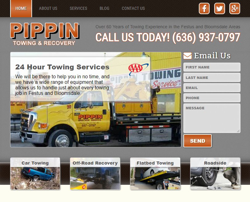 A Clean Website Design Example for Towing Company SEO