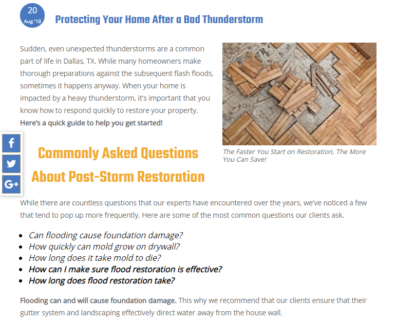 Blog Answers Client Questions to Improve Water Restoration SEO