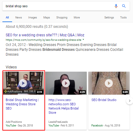 YouTube Video Google SERP Example